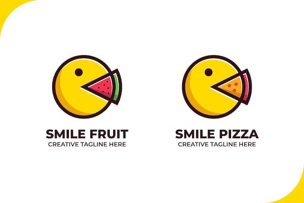 幸せな絵文字は食べ物の漫画のロゴを食べる