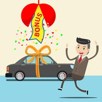 Happy employee receive new car as surprise bonus
