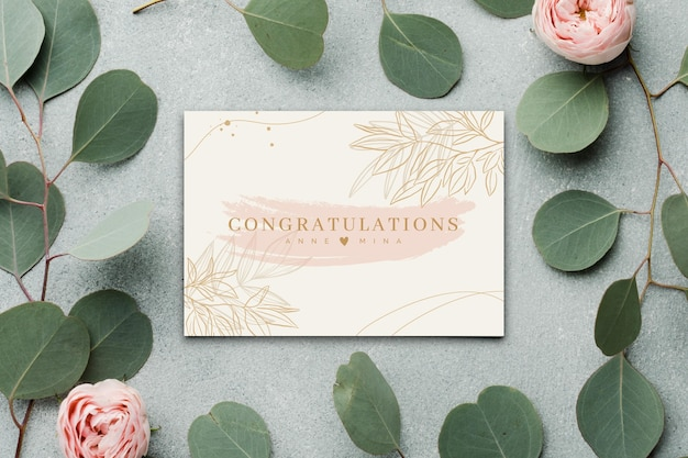 Happy engagement card with flowers and leaves