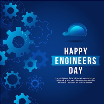 Happy engineers day with gear wheels and hard hat