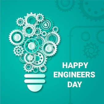 Happy engineers day with gear wheels