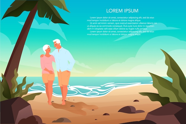Happy eniors spending time on a tropical beach with palms together. retired couple on their summer vacation. landing page or web banner .