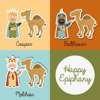 Happy ephipany over colors  background vector illustration