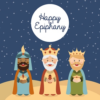 Happy ephipany over nigh sky background vector illustration
