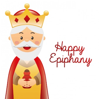 Happy ephipany over white  background vector illustration