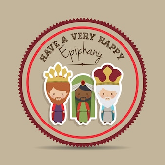 Happy epiphany design over beige background