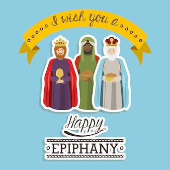 Happy epiphany design over blue background