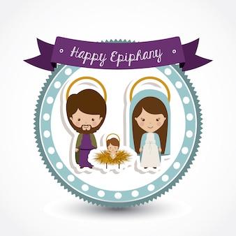 Happy epiphany design over white background