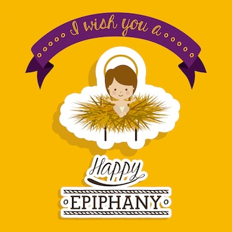 Happy epiphany design over yellow background