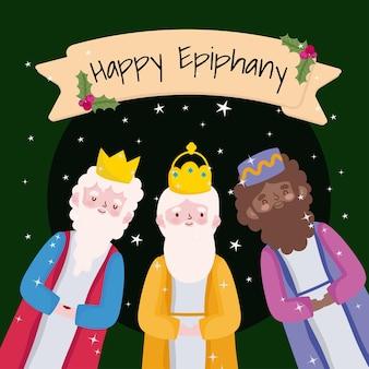 Happy epiphany, three wise kings cartoon ribbon and holly berry