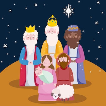 Happy epiphany, three wise kings joseph baby jesus and sheep cartoon