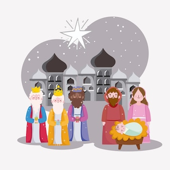 Happy epiphany, three wise kings mary joseph and baby in city of bethlehem