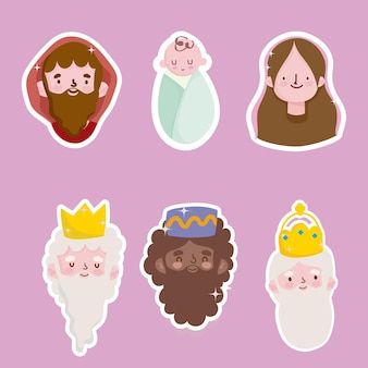 Happy epiphany, three wise kings mary jospeg and baby jesus faces stickers