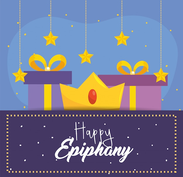 Happy epiphany with crown and prsents with stars