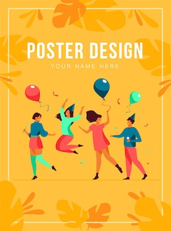 Happy excited people dancing at party poster template