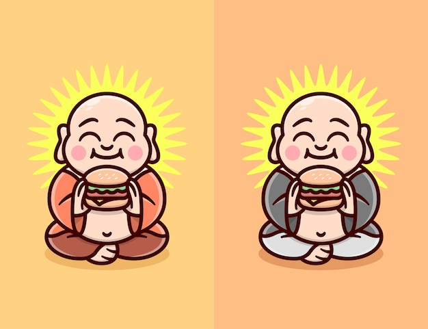An happy face bald and fat monk eating hamburger in two diferent clothing color cartoon logo