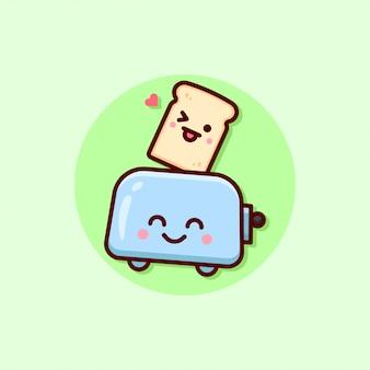 幸せな顔のパンとトースターのイラスト