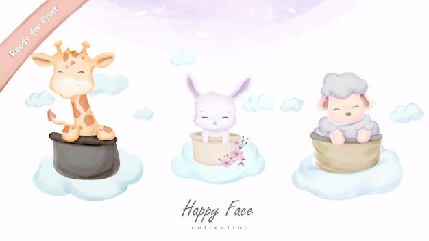Счастливое лицо милое животное на иллюстрации облака