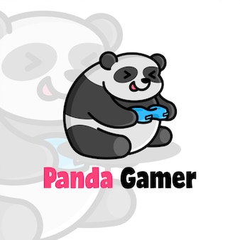 Happy face fat panda playing game cartoon логотип