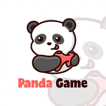Happy face panda playing game cartoon логотип