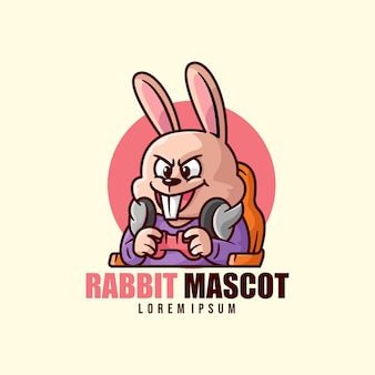 Happy face rabbit playing video game mascot logo
