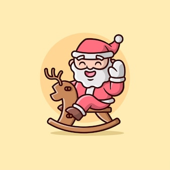An happy face santa claus riding a wooden deer illustration