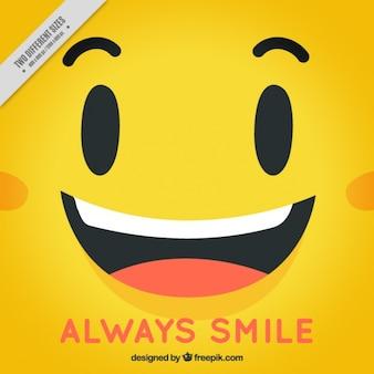 행복 한 얼굴 노란색 배경