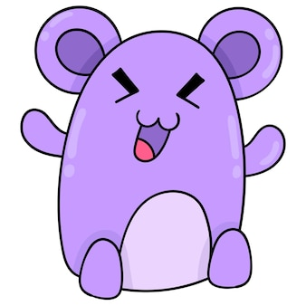 Happy faced purple mouse monster, vector illustration art. doodle icon image kawaii.
