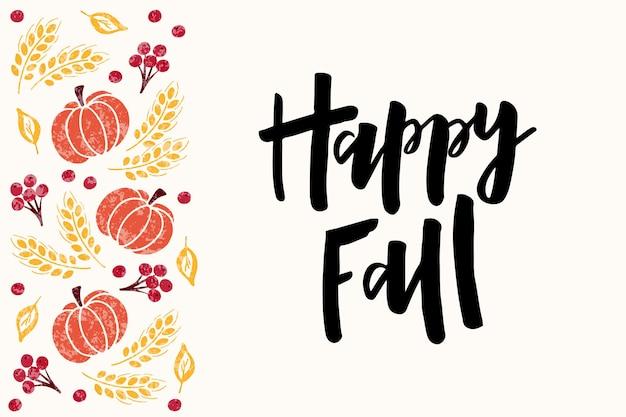Happy fall handdrawn lettering harvest fest poster design autumn festival vector illustration