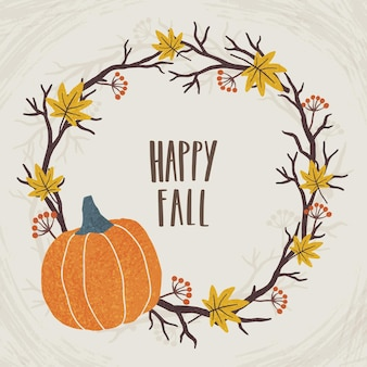 Happy fall. vector autumn cute illustration and lettering