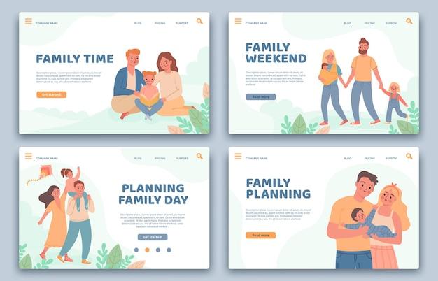 행복한 가족 방문 페이지. 활동적인 부모와 자녀가 휴가 중입니다. 가족 계획, 건강한 삶, 여가 시간 벡터 세트를 위한 웹사이트. 일러스트 가족 템플릿 웹사이트, 부모가 있는 어린이