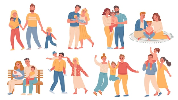 Happy families. parent and kid walk, hug, read and play together. mother with baby, father, son and daughter. trendy flat family vector set. illustration parent with kid, boy child and happy family