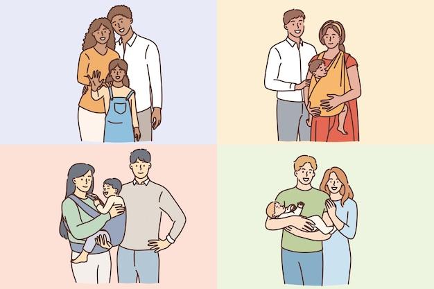 어린이 개념을 가진 행복한 가족입니다. 웃고 있는 젊은 부부 부모 가족은 자녀와 함께 서 있는 자녀와 함께 행복감을 느끼는 벡터 삽화