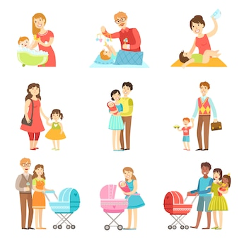Happy families with kids and babies