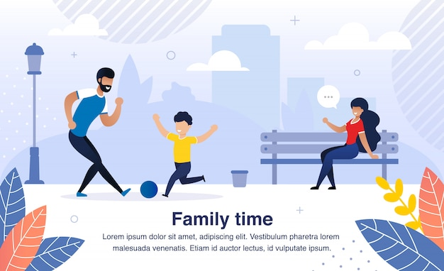 Happy family activity time flat  banner