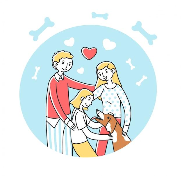 Счастливая семья принимает домашнее животное иллюстрации
