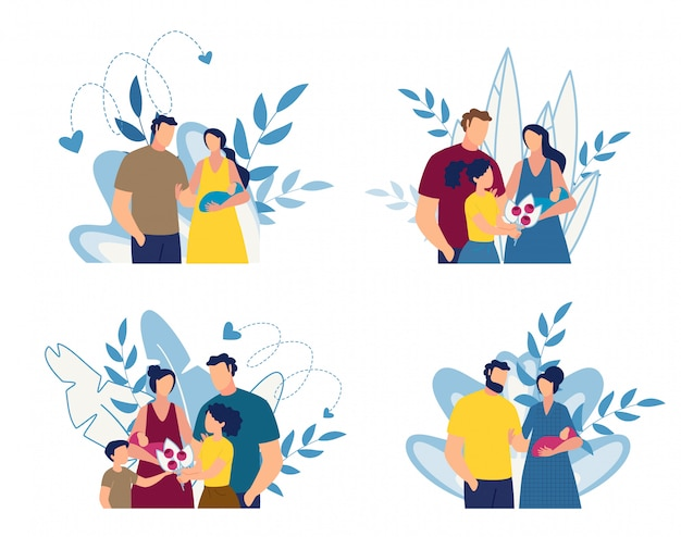 행복 한 가족 및 신생아 만화 꽃 세트