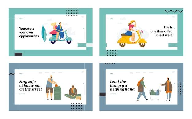 해변 파티에서 행복한 가족과 소셜 미디어 커뮤니케이션 웹 사이트 랜딩 페이지