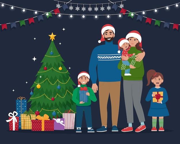 Счастливая семья в рождественскую ночь симпатичные векторные иллюстрации в плоском стиле