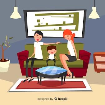 평면 디자인으로 집에서 행복한 가족