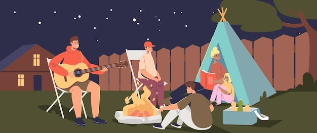 뒤뜰에 캠프에서 밤에 행복 한 가족입니다. 부모와 아이들은 집 밖에서 텐트를 치고 캠프파이어에서 기타와 함께 노래를 부릅니다. 만화 평면 벡터 일러스트 레이 션