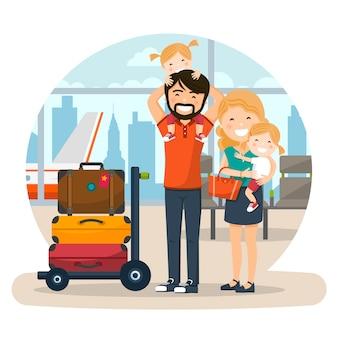 Счастливая семья в аэропорту, ожидающая полета