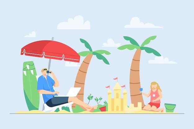 夏休みのイラストの間にビーチで幸せな家族