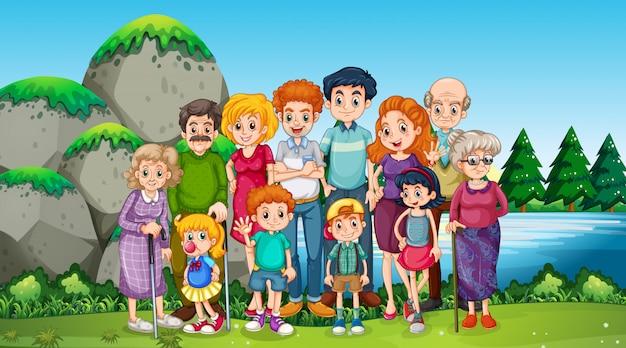 공원에서 행복 한 가족