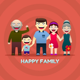 Happy family background in gradient style