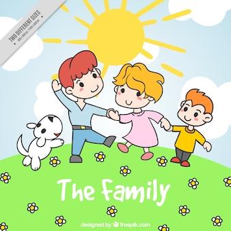 화창한 날에 행복 한 가족 배경
