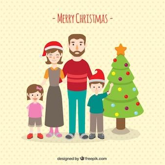 산타 클로스 모자와 나무와 함께 행복 한 가족 배경