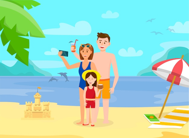Happy family at beach. smiling parents with child.