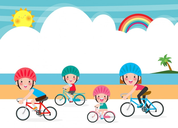 Happy family biking on summer holidays, husband and wife with children spend time cycling on  sea  illustration