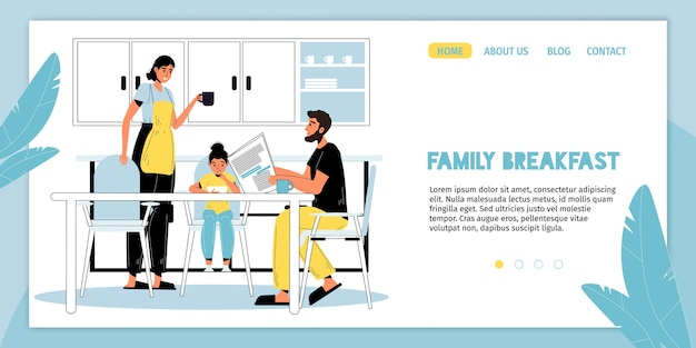 Happy family breakfast. parent children good time together. morning routine. mother cooking snack. father reading newspaper drinking coffee, daughter eating milk porridge. landing page layout